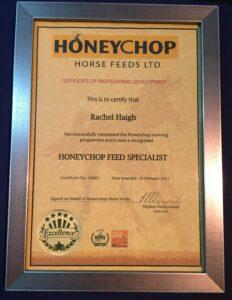 Honeychop feed specialist certificate
