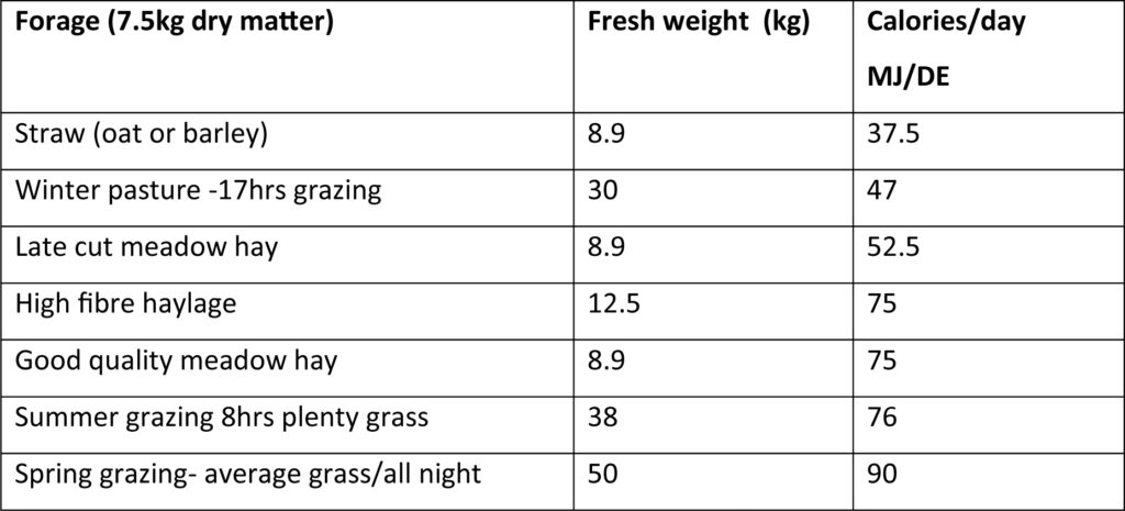 Table 4 The calorie content of 7.5Kg dry matter of different forages