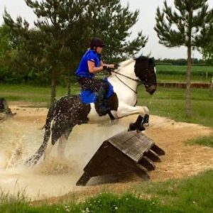 Eek, jumping one of the fences on the BE100 course!